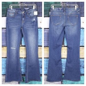 New Vigoss Distressed Stretch Jagger Flare Jeans